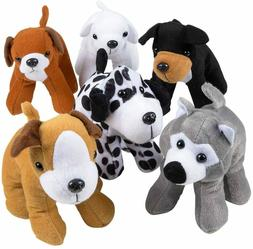 12 Plush Puppy Dogs, 6 Inch Tall Stuffed Animals Assorted Cu