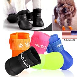 4Pcs Lovely Waterproof Anti-Slip Rain Boots Shoes for Cat Do