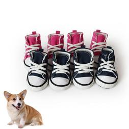 4pcs Pet Dog Boots Puppy Denim Sports Anti-slip Shoes Sneake