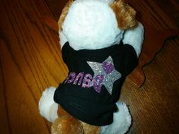 8 inch Stuffed Dog with shirt printed Dance in purple New Un
