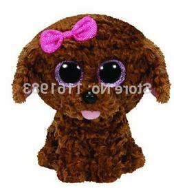 New TY Beanie Boos Big Eyes Plush Maddie Brown Teddy Dog 15c