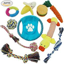 Pet Crony 10 Pack Dog Toys Set Include Chew Rope Toys, Squea