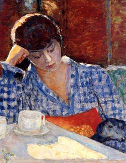 Art Postcard: Vintage repro- Woman at Cafe, Reading Book, w