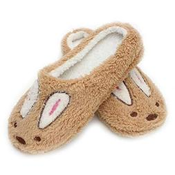 ASO-SLING Women's Cute Rabbit House Slippers Winter Soft Plu