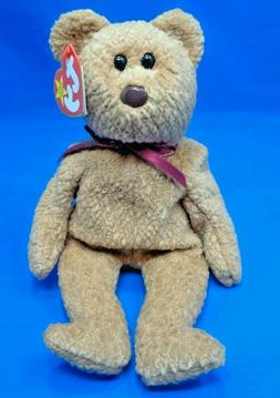 "Ty Beanie Babies ~ CURLY the Bear ~ Plush Stuffed Toy ~8""~ M"