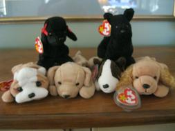 TY BEANIE BABIES DOGS...TOTAL 6...NWMT / NEW OLD STOCK...SMO