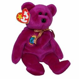 TY Beanie Babies Purple Teddy Bear ** MILLENIUM ** 5th Gener