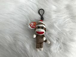TY BEANIE BROWN SOCK MONKEY KEY CLIP- NEW WITH MINT TAG - VE