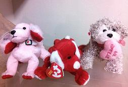 Ty Beanies Trio  for VDay,Dogs Sonnet, Sugar-Pie, Snookums,