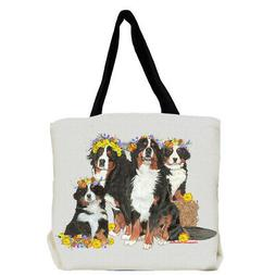 Bernese Mountain Dog with Flowers Tote Bag