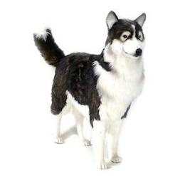 "Black/Beige Husky Toy Reproduction by Hansa, 45"" long"