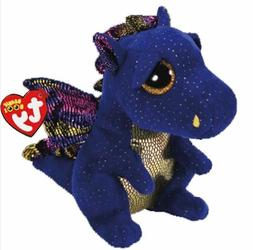 "Blue Dragon 6"" Ty Beanie Boos Puppy Glitter Big Eyes Plush S"