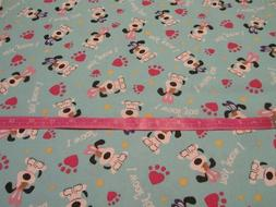 Blue I Woof You Easter Dog Toss Cotton Fabric BTY