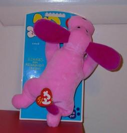 Ty Bow Wow Beanies - BONES the Pink Dog  Crinkle/Squeak Toy