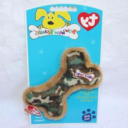 TY BOW WOW BEANIES Camouflage Bone Dog Toy Crinkle Squeaker