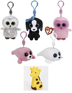 Bundle Set of 5 Clips Key Chain Plush Toys Pink Owl, Black D