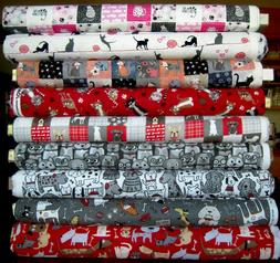 Cotton Flannel Dog Cat Kitty Puppy Patchwork yarn red gray p