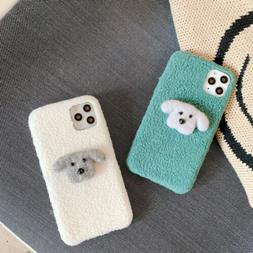 Cute Plush Dog Soft Phone Case Cover For iPhone 11 Max X XR