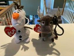 """TY DISNEY SPARKLE FROZEN 2,  SET OF OLAF AND SVEN 5"""" CLIP si"""