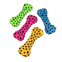 Dog Chew Toys,Spot Colored Rubber Bone Squeaky Dog Toys for
