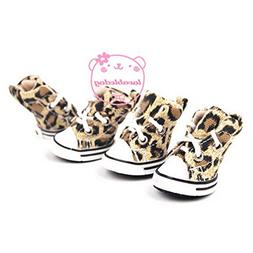 Ranphy Small Dog Shoes for Female Male Lace up Sports Leopar