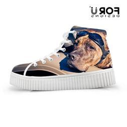 Dog Pug Women's High Top Sneakers Trainers Ankle Boot Platfo