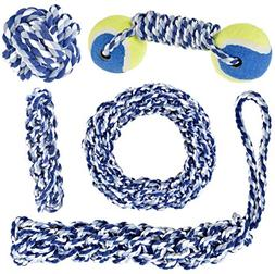 IMPRIE Dog Rope Toy 5 Pack - Tough Dog Toys Set for Puppy an