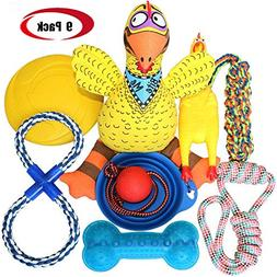 Jomilly Dog Toys Chew Toys Set Heavy Aggressive Chewers 9 Pa