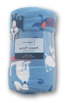dogs cats patterned fleece throw