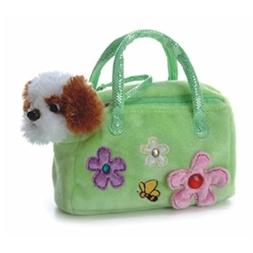 Fancy Pals Plush Green Pet Carrier with Plush Dog by Aurora