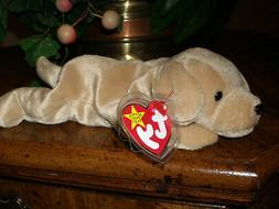 """TY~FETCH the Golden Retriever dog~8"""" Beanie Baby~Mint with M"""