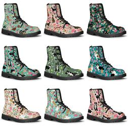 Funky Floral Animal Dog Pattern Ankle Boots Waterproof Lace-