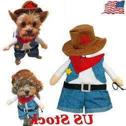 Funny Dog Cat Cool Cowboy Costume For Christmas Halloween Co