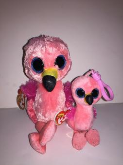 TY GILDA FLAMINGO SET OF 2  BEANIE BOOS-NEW, TAG*IN HAND