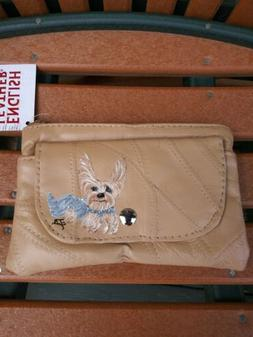 Hand Painted yorkshire terrier yorkie tan leather  pouch nwt