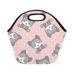 Insulated Neoprene Lunch Bag Cute Cats Heart Dots Large Size