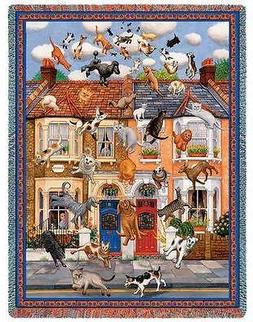 """IT''S RAINING CATS & DOGS Humorous Tapestry AFGHAN THROW 54"""""""