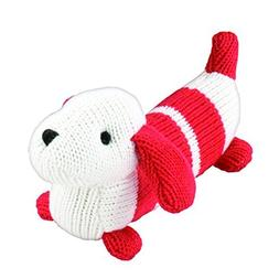 """Rich Frog K'NIT Squeak Doggy Dogs """"Sox"""" Stuffed Animal, Hand"""