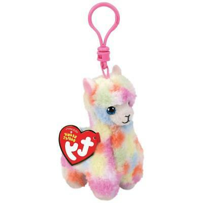 "2018 TY Beanie Baby 4"" LOLA Multicolored Rainbow Llama Key C"