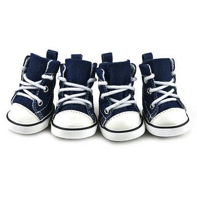 4pcs Pet Shoes Puppy Denim Sports Sneakers Small Dogs