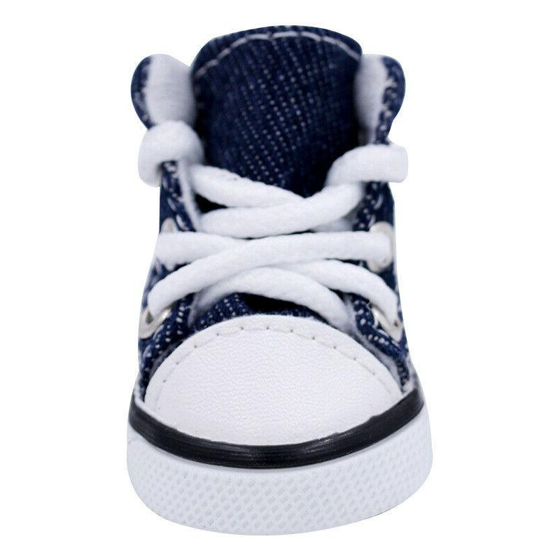 4pcs Pet Dog Puppy Denim Shoes Sneakers For Small Dogs