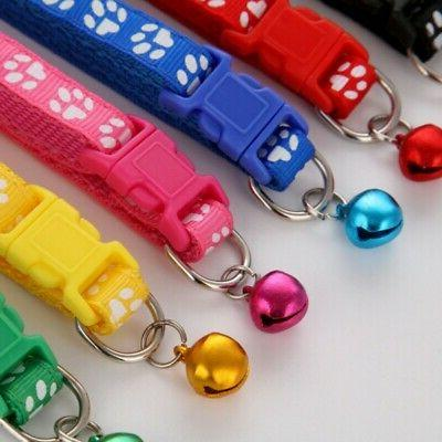 Adjustable Buckle Pet Dog Paw Printed Bell
