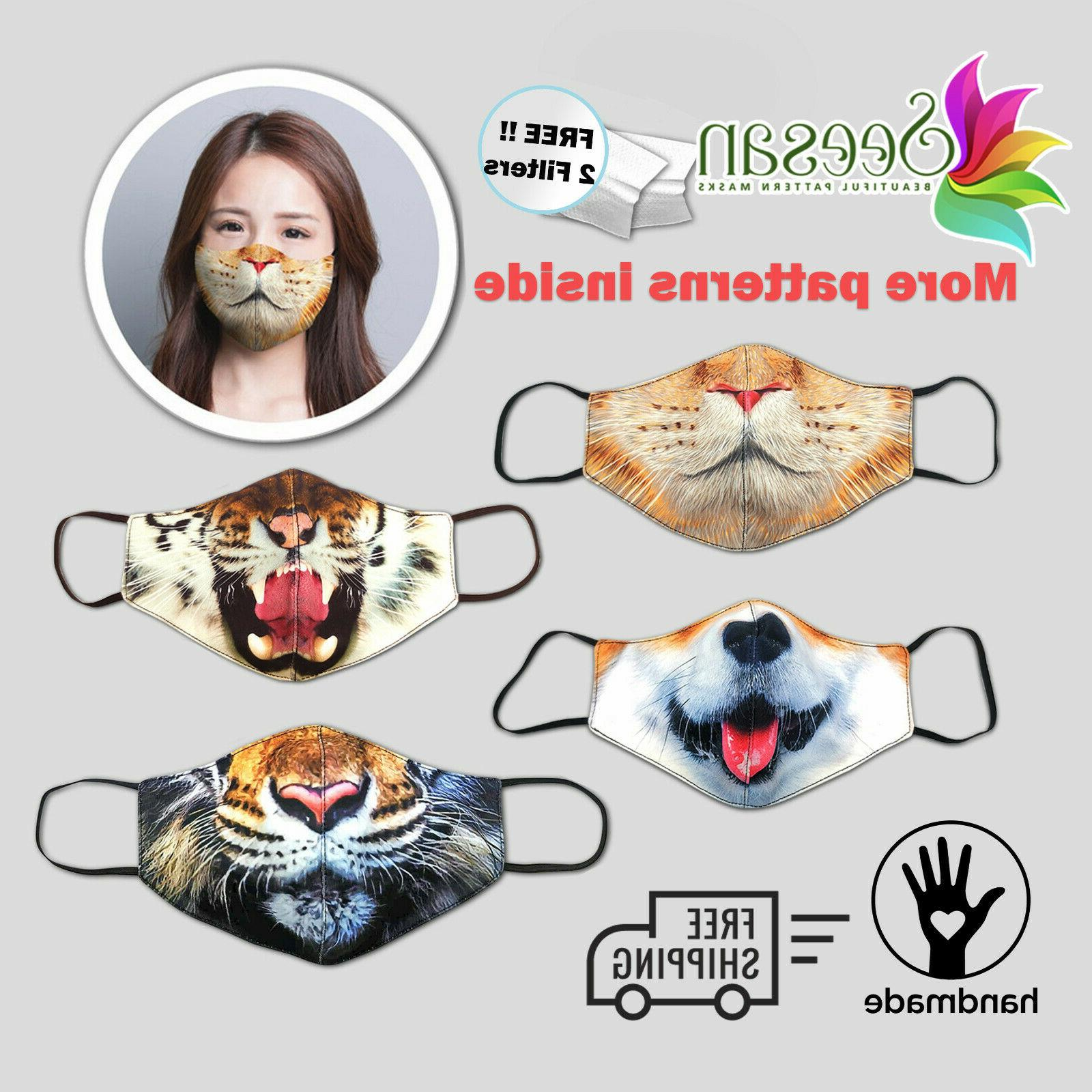 animals face mask washable triple layered filter