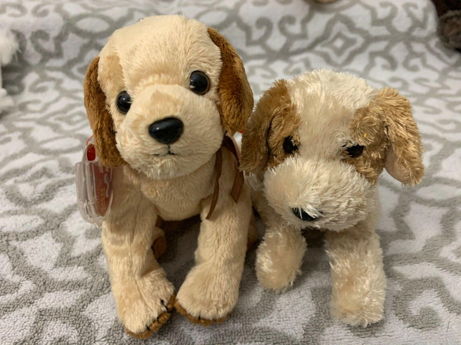 beanie baby dogs banjo and badges new