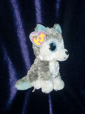 Ty Beanie Boos Slush The Husky Dog Gray White Big Eyes NWT 6