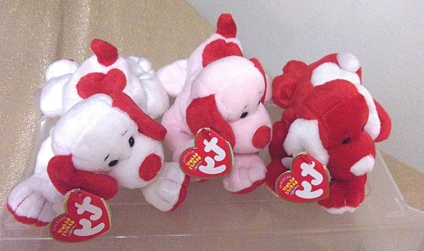 Ty Beanie Dogs VDay,Honey-Bun, & excell.cond