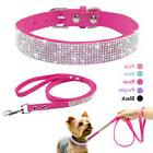 Bling Rhinestone Puppy Pet Dog Collar and Leash Set for Smal