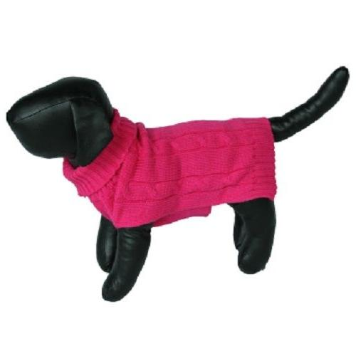 Bright Pink Knit Warm Turtleneck Sweater for Small Dogs Pets