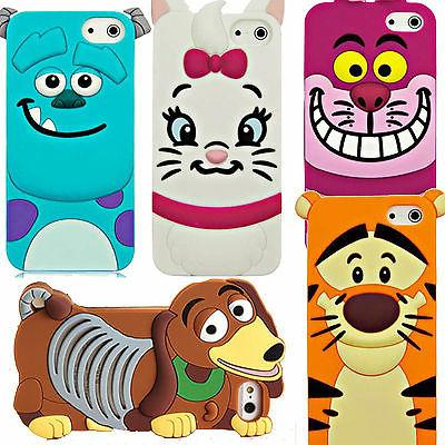 Cute 3D Cartoon Silicone Rubber Back Case Cover For Various