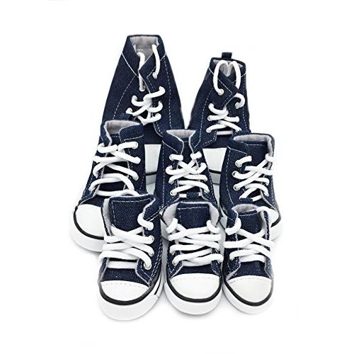 PetFavorites Dog up Canvas Boots Nonslip Dog Sneaker Large Doggies, 4 One Pack.
